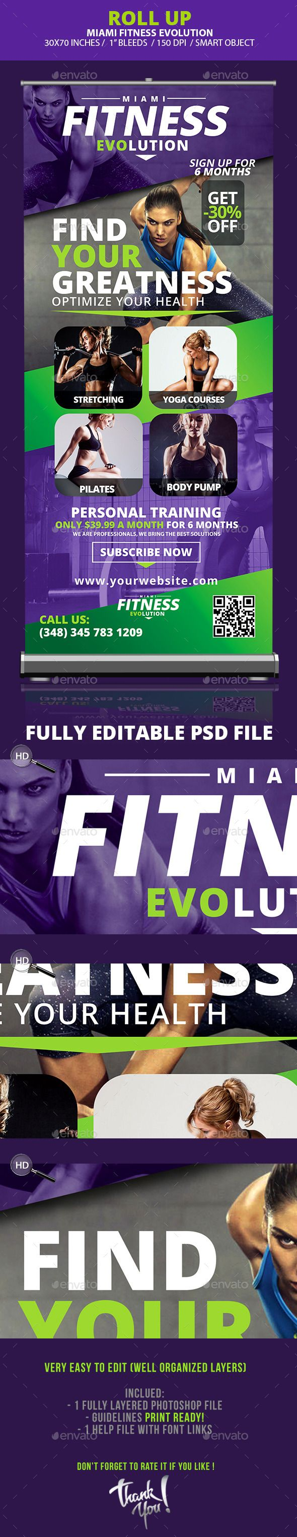 Fitness Evolution Roll-up Banners Template #design Download: http://graphicriver.net/item/fitness-evolution-rollup-banners-/10359541?ref=ksioks
