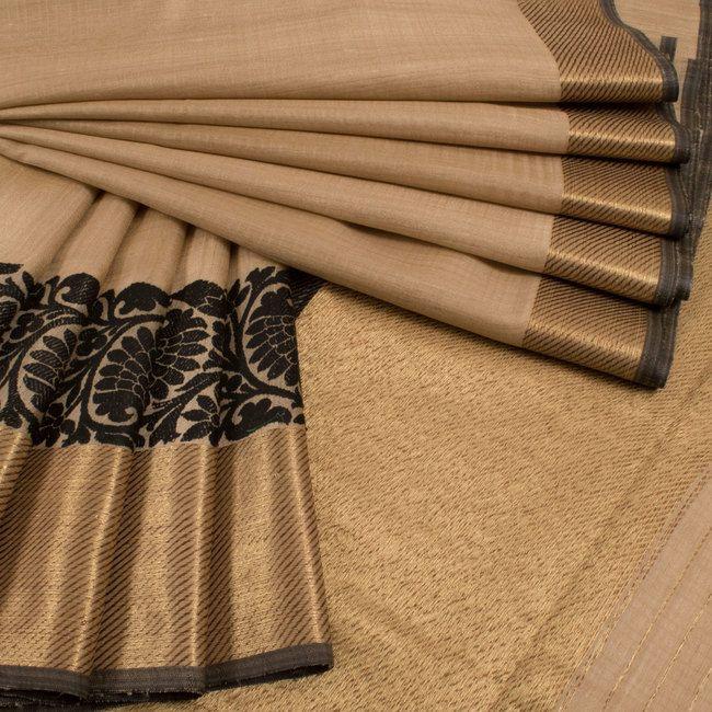 Handwoven Beige Banarasi Tussar Silk Saree With Jangla Border 10013360 - AVISHYA.COM