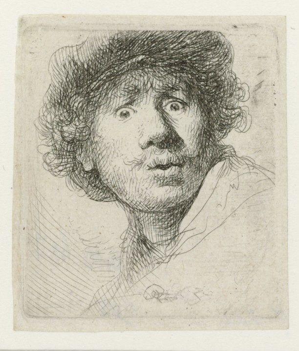 Rembrandt van Rijn, Self-portrait with beret, wide-eyed, 1630, Rijksmuseum