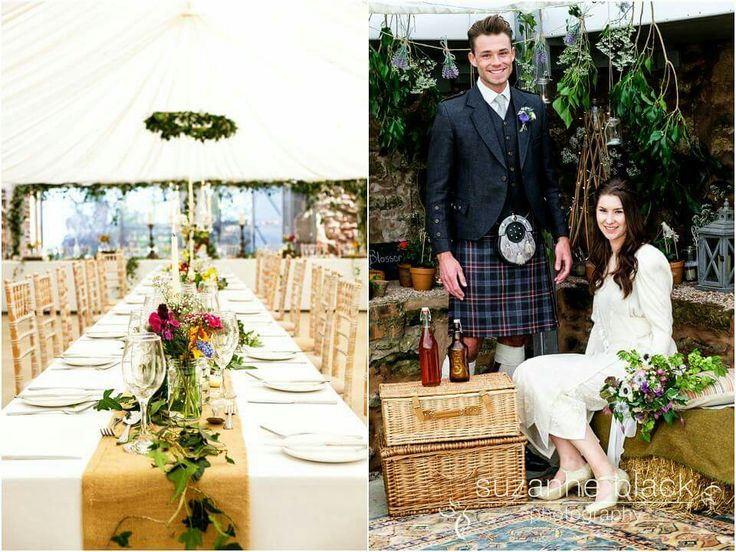 Rustic wedding. Garden wedding. Tablescape organic. Hessian. Informal seating. Secret garden. Straw bales.Potato sacks. Styling by Through the Looking Glass Scotland. @2thlookingglass  . Suzanne Black photography.
