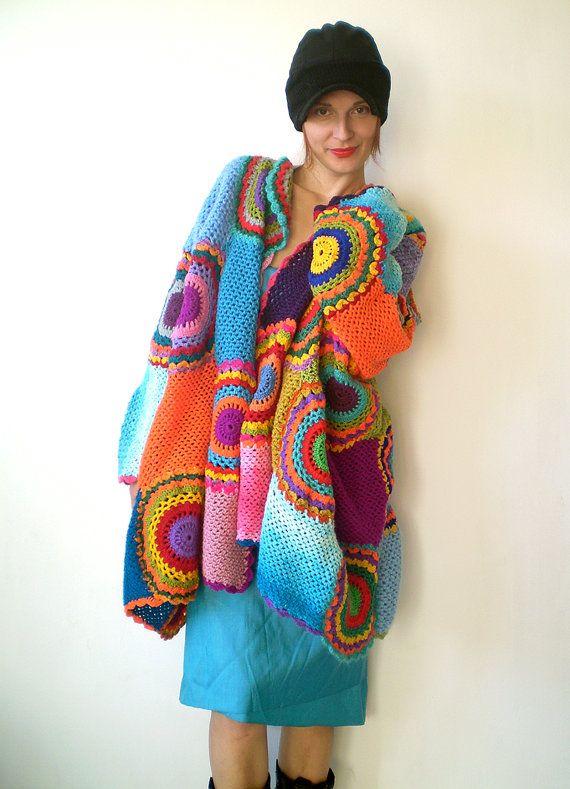 Plus Size Damen Strickjacke Pullover mit Crochet-Kreise