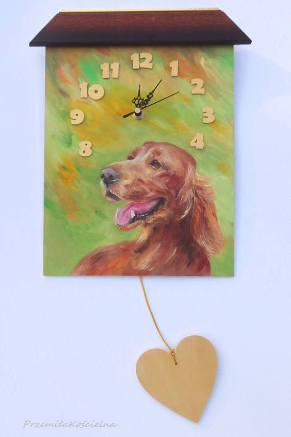 IRISH RED SETTER Dog Painted clock Funny Wall Clock with heart #IrishSetter #dog #paintedclock #funny #clock #homedecor #handmade #painting #art #animals #petportraits #canisartstudio
