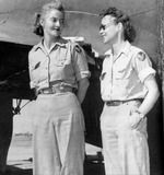 Pilot Nancy Harkness Love and WAF co-pilot Betty Huyler Gillies, the first women to fly the B-17 Flying Fortress bomber, circa 1943-1945