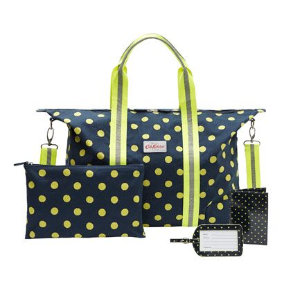 NEW neon navy spot | One of our sturdy foldaway overnight bags with a matching passport cover and luggage tag. Holidays, in the bag | Button Spot Overnight Bag Gift Set