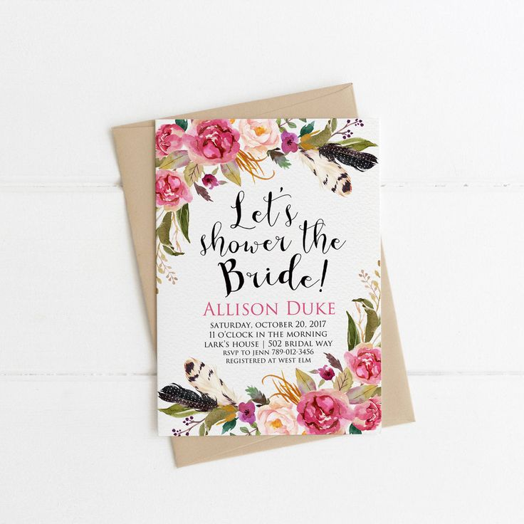 Boho Chic Bridal Shower Invitation Printable, Fall Wedding Shower the Bride, Feathers Bohemian Bachelorette Party, Pink Floral Invite your guests with this beautiful invitation. PLEASE NOTE: This item is a DIGITAL FILE. You are purchasing a digital file only. No physical item will