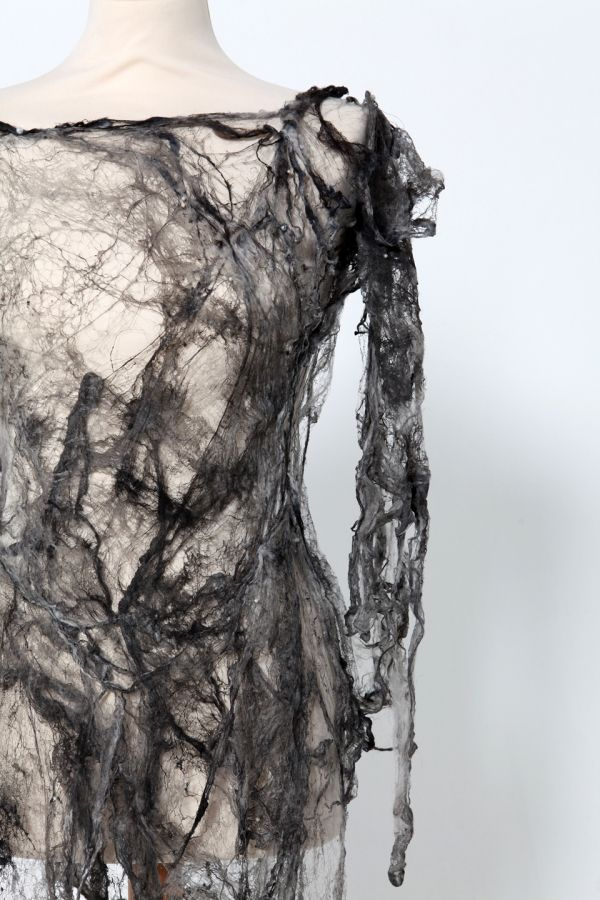 Grey Silk Fibre Dress - creative textiles surface design exploring the idea of impermanence - textiles for fashion // Shirley Buchan