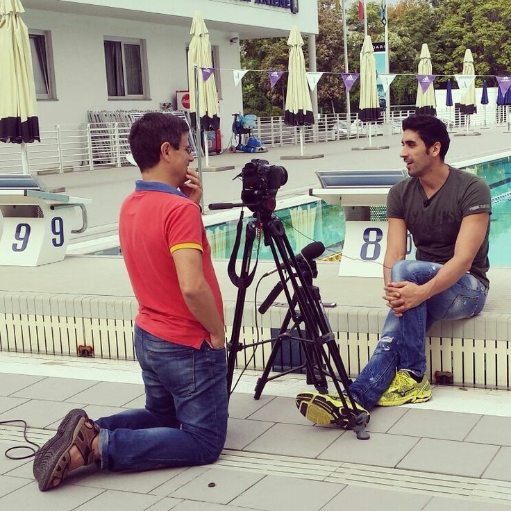 Massimo Leopardi (Veggie channel) & Filippo Magnini (famous Italian swimmer). Interview in Rome