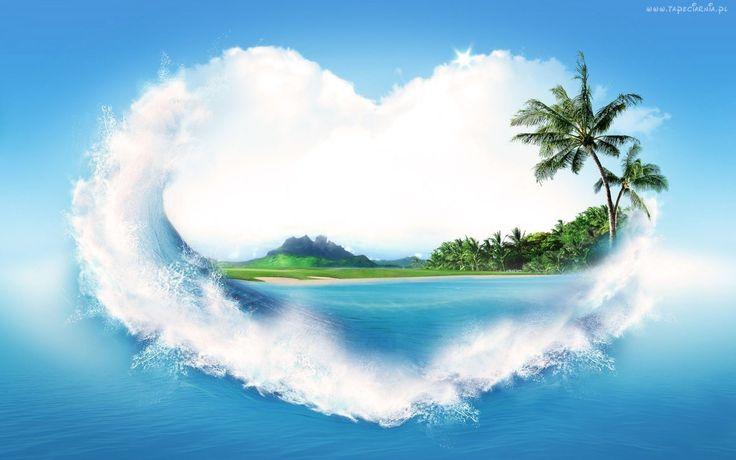 Serce, Wyspa, Palma, Fale, Miłość