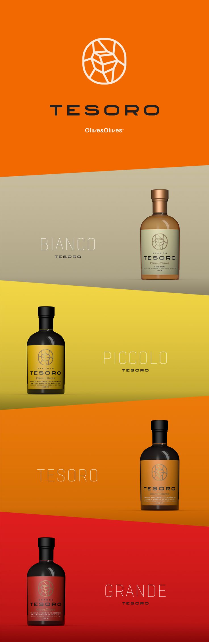 Tesoro Olive& Olives vinegar and condiment by Denis Bégin. Source: Behance. #SFields99 #packaging #design #inspiration #ideas #product #branding #oil #creative