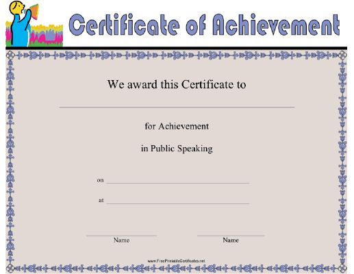 This Public Speaking Achievement certificate features a silver-tongued orator giving a speech in front of a crowd of onlookers. Appropriate for speech and debate competitions or to thank a guest speaker for an event or organization. Free to download and print