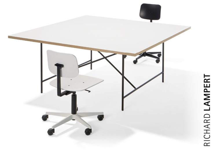 The ›Eiermann 1‹ Table is also available with a square tabletop (160 × 160 cm) for multiple workstations or for use as meeting/conference table, offering comfortable space at all sides of the table. #eiermanntisch