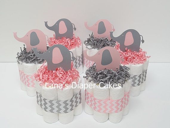 Six Pink And Gray Elephant Mini Diaper by LanasDiaperCakeShop