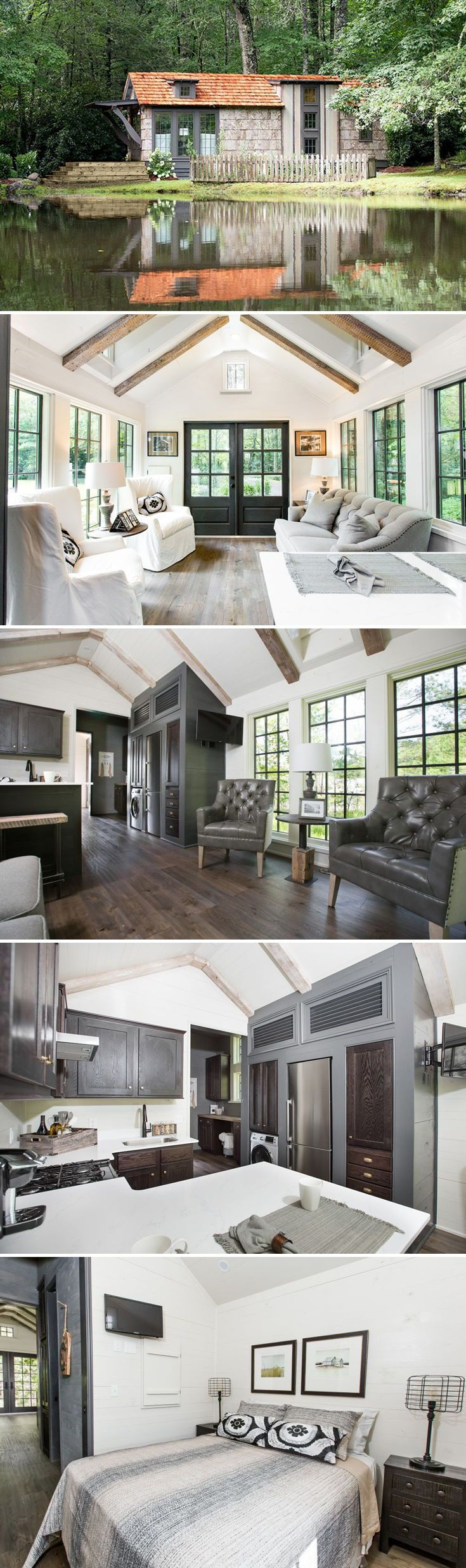 """Drawing inspiration from the marshlands of South Carolina, the Low Country by Clayton Tiny Homes was designed with southern living in mind. The 464-square-foot """"shotgun cottage"""" includes a large porch, vaulted ceilings, and dormer windows."""