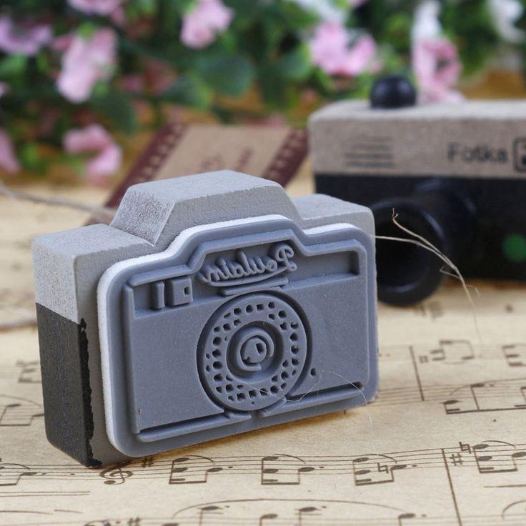 Adorável 2 modelo coréia de madeira câmera retro selo carimbo de borracha cinza e marrom DIY frete grátis em Selos de Escritório & material escolar no AliExpress.com | Alibaba Group