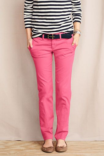 Pink pants / striped shirt. Women's True Slim Chinos from Lands' End