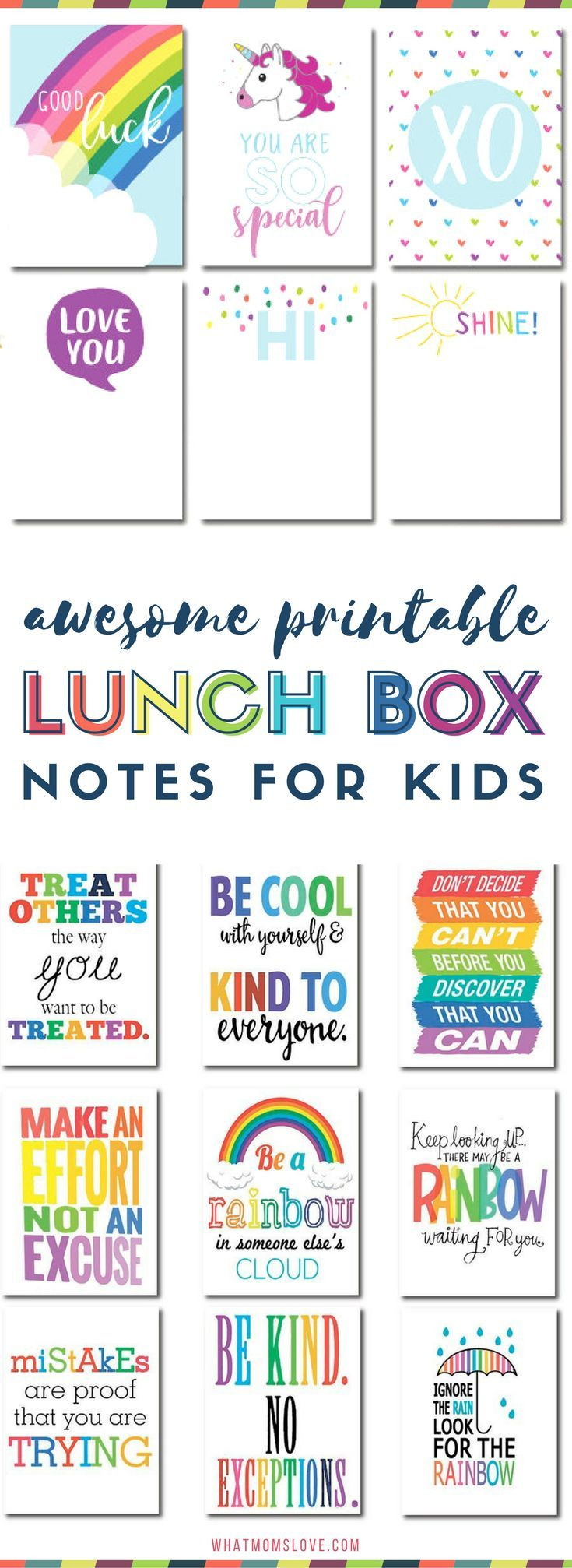 Printable Lunch Notes For Kids   Pop these funny jokes and encouragement for girls and boys in their lunch box! Many are free printables!