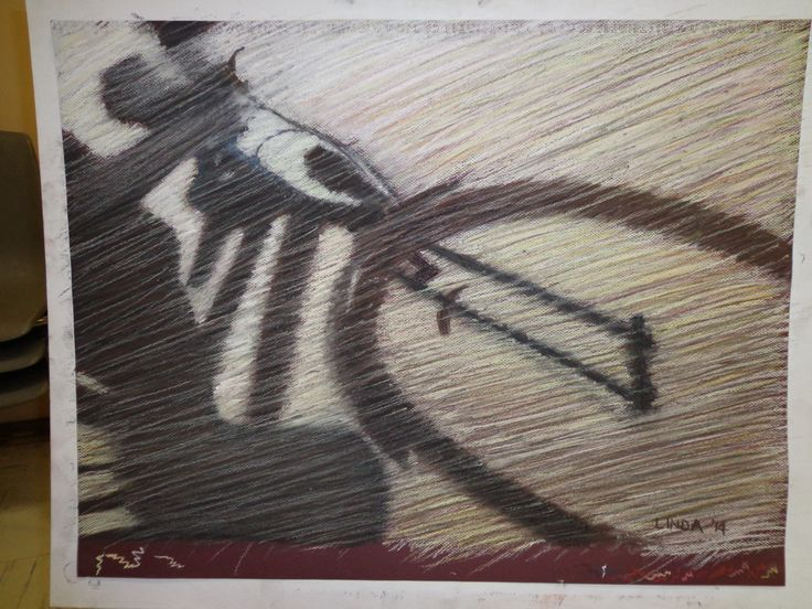 Bicycle shadow in pastel