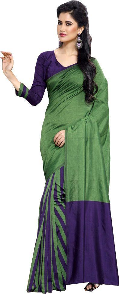 Green Causal Wear Saree Designer Work Printed Pallu Cotton Sari #SareeStudio #SareeSari #CausalWear