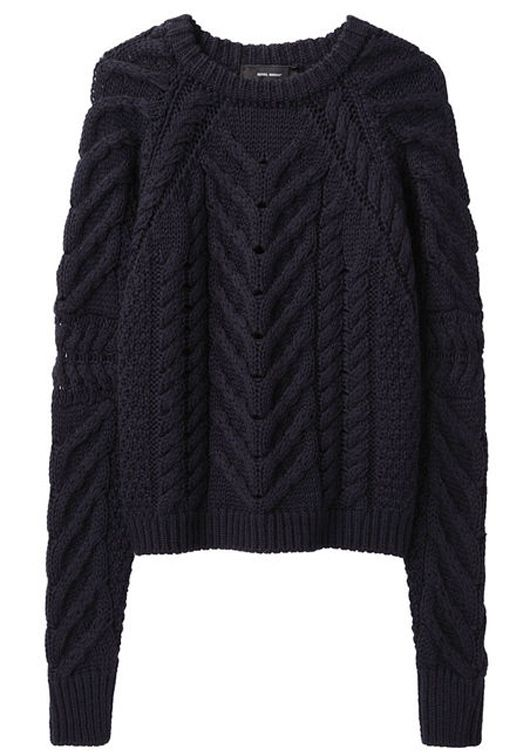 Vichy pullover sweater Isabel Marant, cable knit, navy