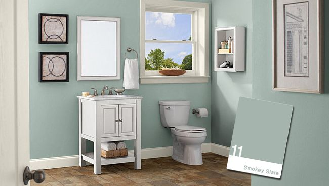 Behr smokey slate bathroom for the home pinterest for Green bathroom paint colors