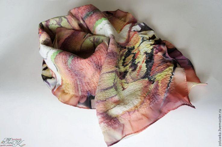 Купить Валяный женский шарф, нуновойлок Краски ранней осени - аксессуары ручной работы