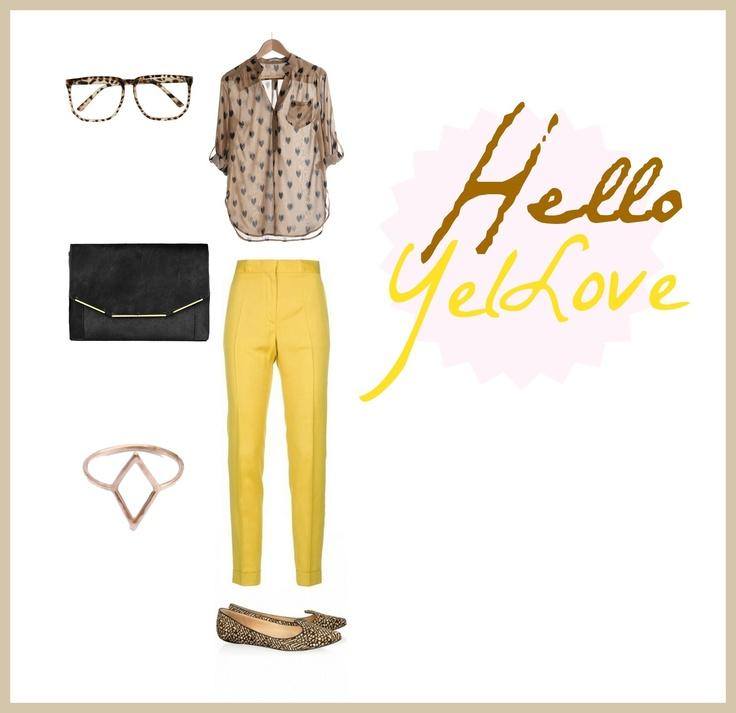 #set #outfit #clothes #stylish #hearts #yellow Hllo Yello /Hello YelLove / by Taki Trik