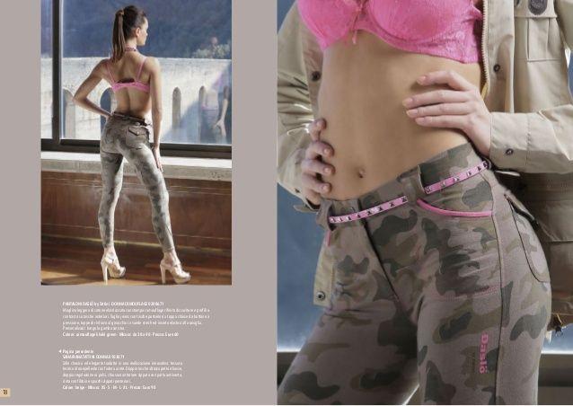 Pantalone Daslo da donna mimetico con finiture fucsia