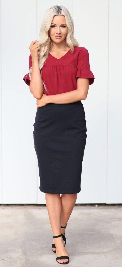 Cassie Pencil Skirt (Black)
