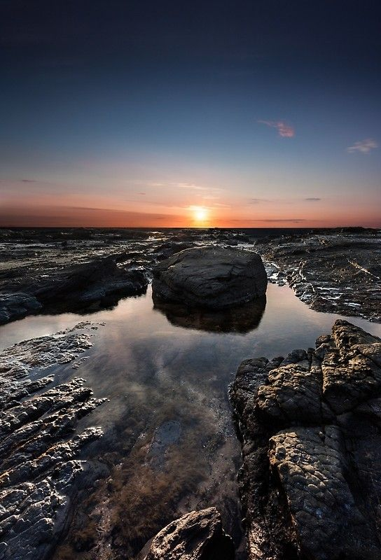 Rock pool at sunset, sunset, clouds, beautiful, holiday, beach, ocean, calm sea, rocks, rock pool