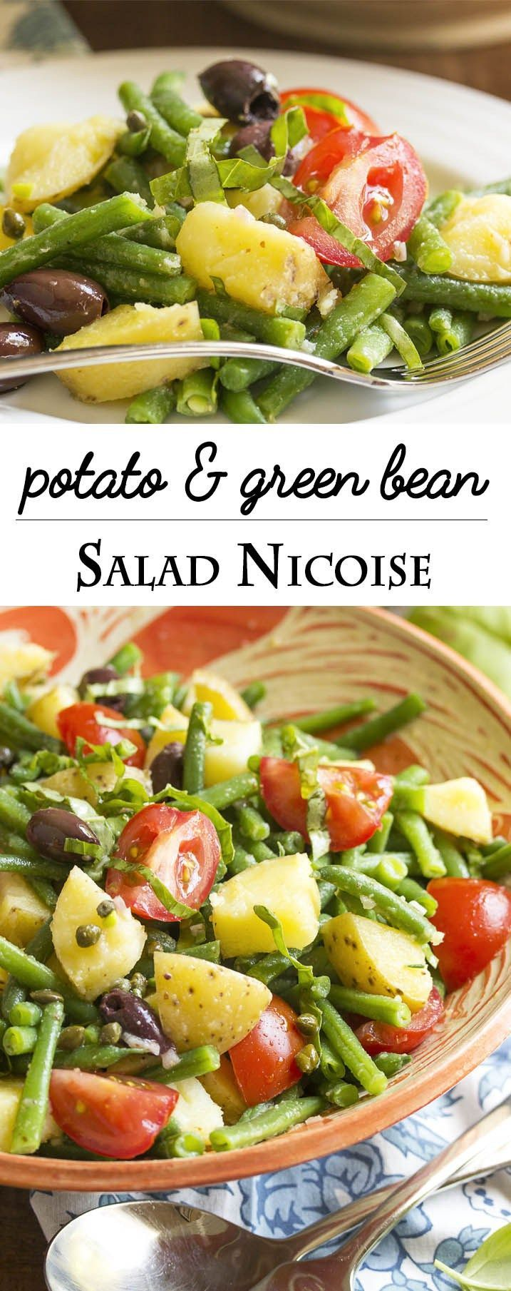 Potato Salad Nicoise - This tasty and relaxed version of salad nicoise mixes green beans, potatoes, olives, and tomatoes with a lemony, anchovy spiked dressing. Add all the ingredients to the salad bowl, toss with the dressing, and dinner is served! | justalittlebitofbacon.com