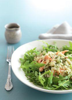 Rocket, Orzo & Smoked Salmon Salad with Pesto Dressing