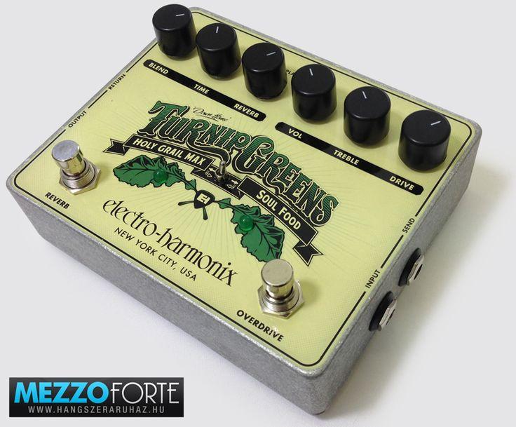 Electro-Harmonix Turnip Greens torzító, overdrive, zengető gitárpedál, Soul Food torzító és Holy Grail Max zengető pedál egyben.