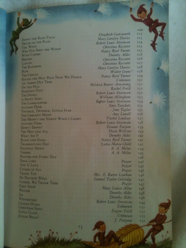 Table of Contents; page, 13 Of Childcraft Encyclopedia Volume 1 1961 Edition Out-of-Print Mother Goose and Nursery Rhymes