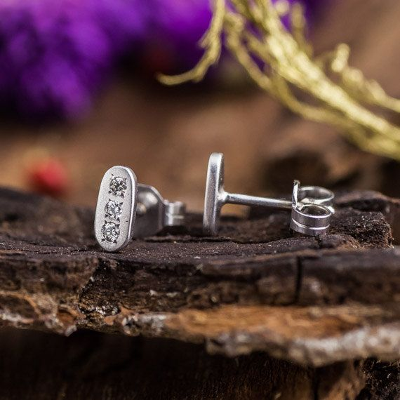 Unique 14K White Gold Studs with 3 Natural White by ZEHAVAJEWELRY