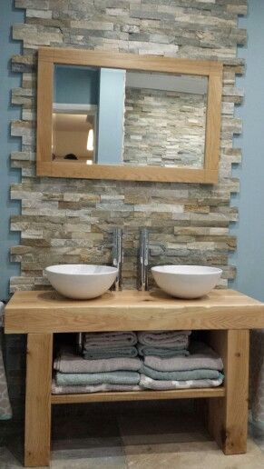 Hand built oak sleeper bathroom furniture / split face oyster slate tiles                                                                                                                                                                                 More