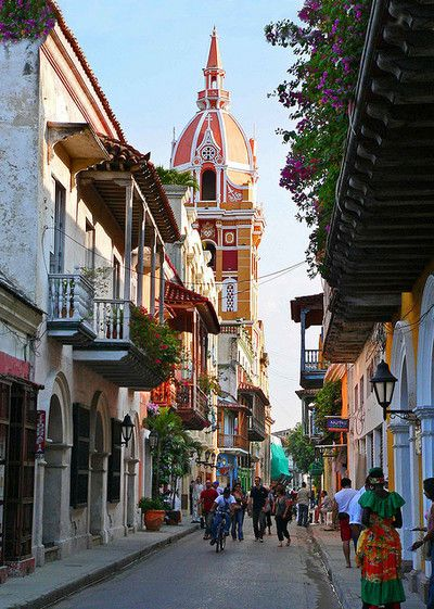 Streets of Cartagena, Colombia. Go to www.YourTravelVideos.com or just click on photo for home videos and much more on sites like this.