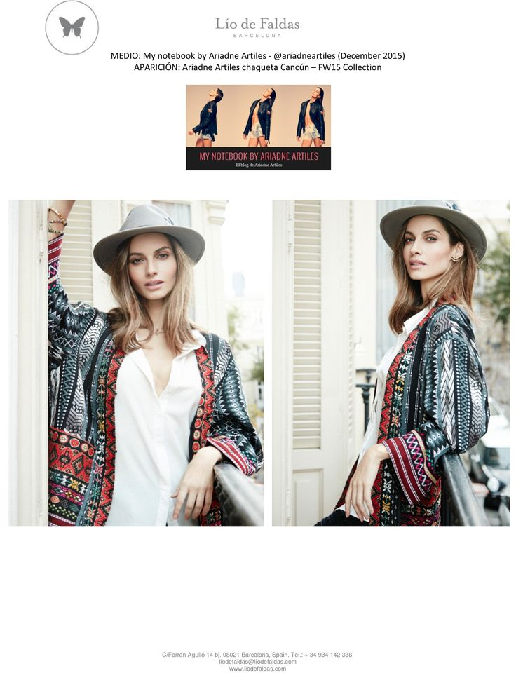 The notebook by Ariadne Artiles (December 2015). FW15 Collection. Spanish top model Ariadne Artiles with our ethnic jacket Cancún.