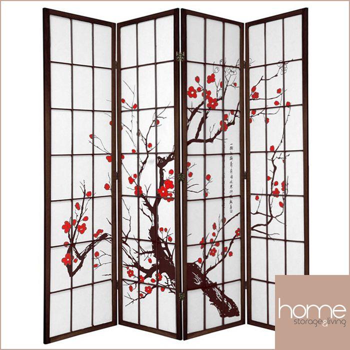 Brown Cherry Blossom 4 Fold Room Divider - www.hsandl.com.au