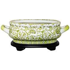 Green and White Floral Porcelain Footbath with Base