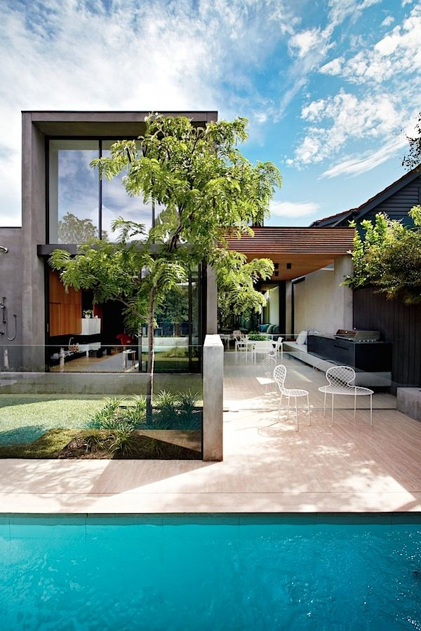 contemporary industrial house architecture of 400m2 area stunning swimming pool design with small trees and