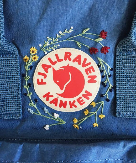 Customizable Wildflower Hand Embroidered Fjällraven Backpack