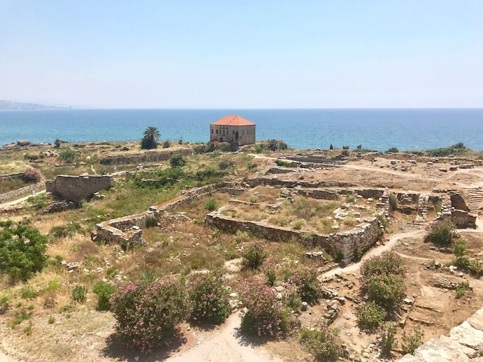 View of ancient ruins from the Byblos Castle