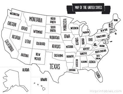 printable map of usa with states names. also comes in color, but ...