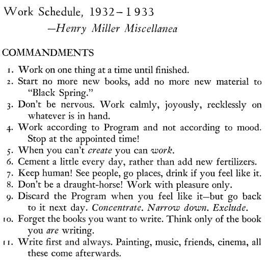De 11 geboden met betrekking tot het schrijven en de dagelijke bezigheden, Henry Miller