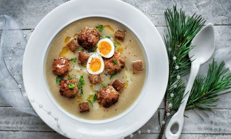 Apologies, but the original guardian  article contains non-vegetarian recipes. The one I am itching to veganise  is the Polish meatball soup.   I have already adapted the ham recipe  using mock meat, vegan ale and sweet freedom honey substitute, and it was VERY well received by my husband.