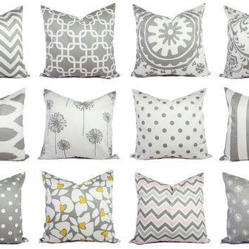 Grey Pillow Covers - Grey and White Throw Pillows - Decorative Pillows - Grey Euro Sham - Throw Pillow Cushion Cover Accent Pillow