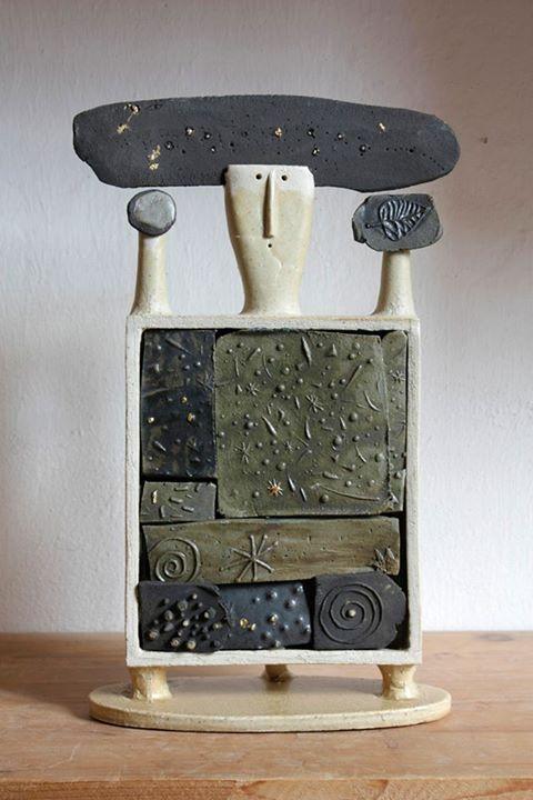 """Idoletto notturno"" by Riccardo Biavati / grés, ox. rame, oro"