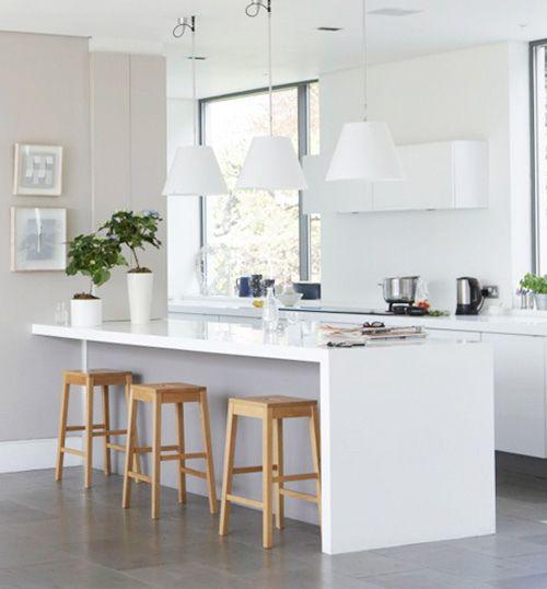 White Kitchen   Fresh look   Wooden stools