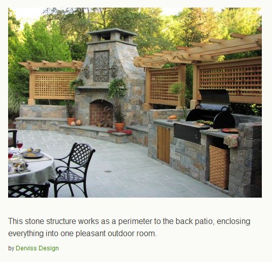 patio with fireplace and built in BBQ for outdoor dining  this is sooo what i want for an outdoor kitchen!