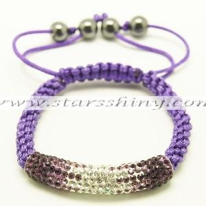 Clay Shamballa Bracelet, dark purple/clear/purple clay tube rhinestone beads